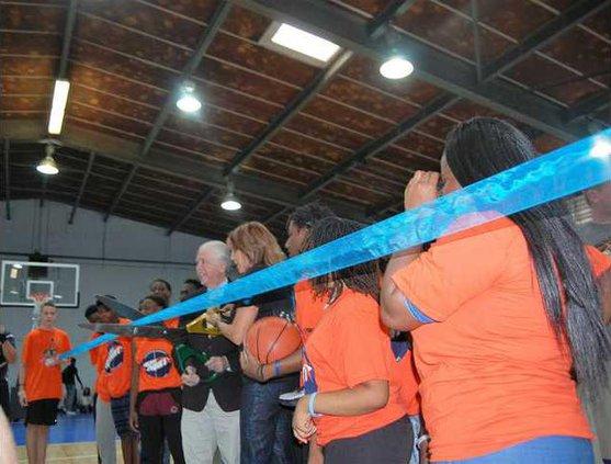 Mayor Scully and Nancy Lieberman at ribbon cutting for gym  TJC.jpgWEB