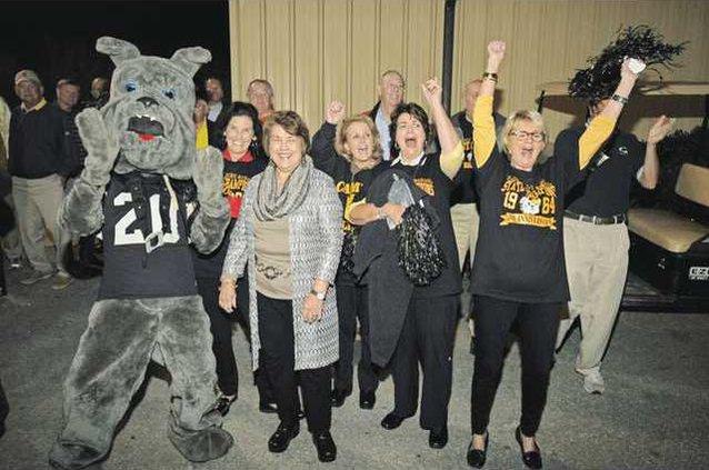 Bulldog Mascot and Cheerleaders WEB